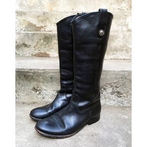 FRYE BLACK MELISSA KNEE HIGH LEATHER RIDING BOOTS